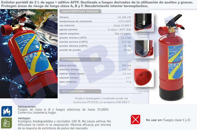 Extintor de clase F de espuma de 2kg