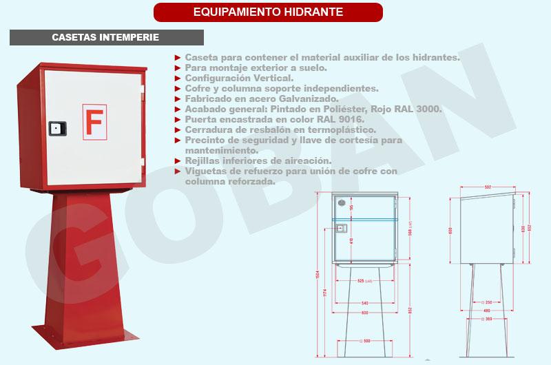 Caseta de intemperie reforzada para hidrante fabricada en acero galvanizado